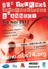 affiche/visuel « 20<sup>e</sup> Tournoi International de Badminton d'Annecy »