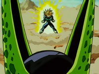 Trunks power-up against Cell!