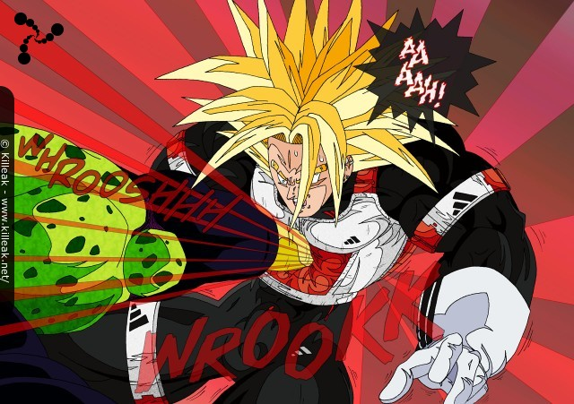 Trunks Super Saiyan Daï San Dankaï affronte Cell. – Cell affronte Trunks Super Saiyan Daï San Dankaï ; et pour le coup, avantage à Cell avec ce violent coup de pied dans l'estomac de Trunks ! – « Ultra Trunks vs Perfect Cell » – Trunks Super Saiyan Daï San Dankaï, ou Ultra SSJ... – mots associés : cell, combat, dbz, dragon ball z, super saiyan daï san dankaï, trunks, ussj