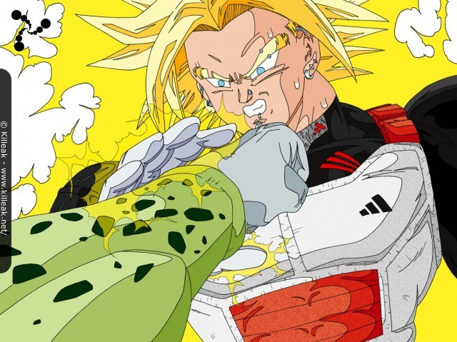 Future Trunks face à Perfect Cell. – Combat entre Perfect Cell et Mirai no Trunks transformé en Super Saiyan Daï San Dankaï. – « Ultra Trunks vs Cell » – Trunks Super Saiyan Daï San Dankaï affronte Perfect Cell. – mots associés : combat, dbz, dragon ball z, super saiyan daï san dankaï, trunks, ussj