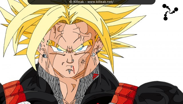Mirai no Trunks transformé en Super Saiyan Daï San Dankaï tient tête à Cell. – Ultra SSJ Future Trunks fait face à Cell... – « Trunks USSJ face à Cell » – Trunks Super Saiyan Daï San Dankaï – mots associés : dbz, dragon ball z, super saiyan daï san dankaï, trunks, ussj
